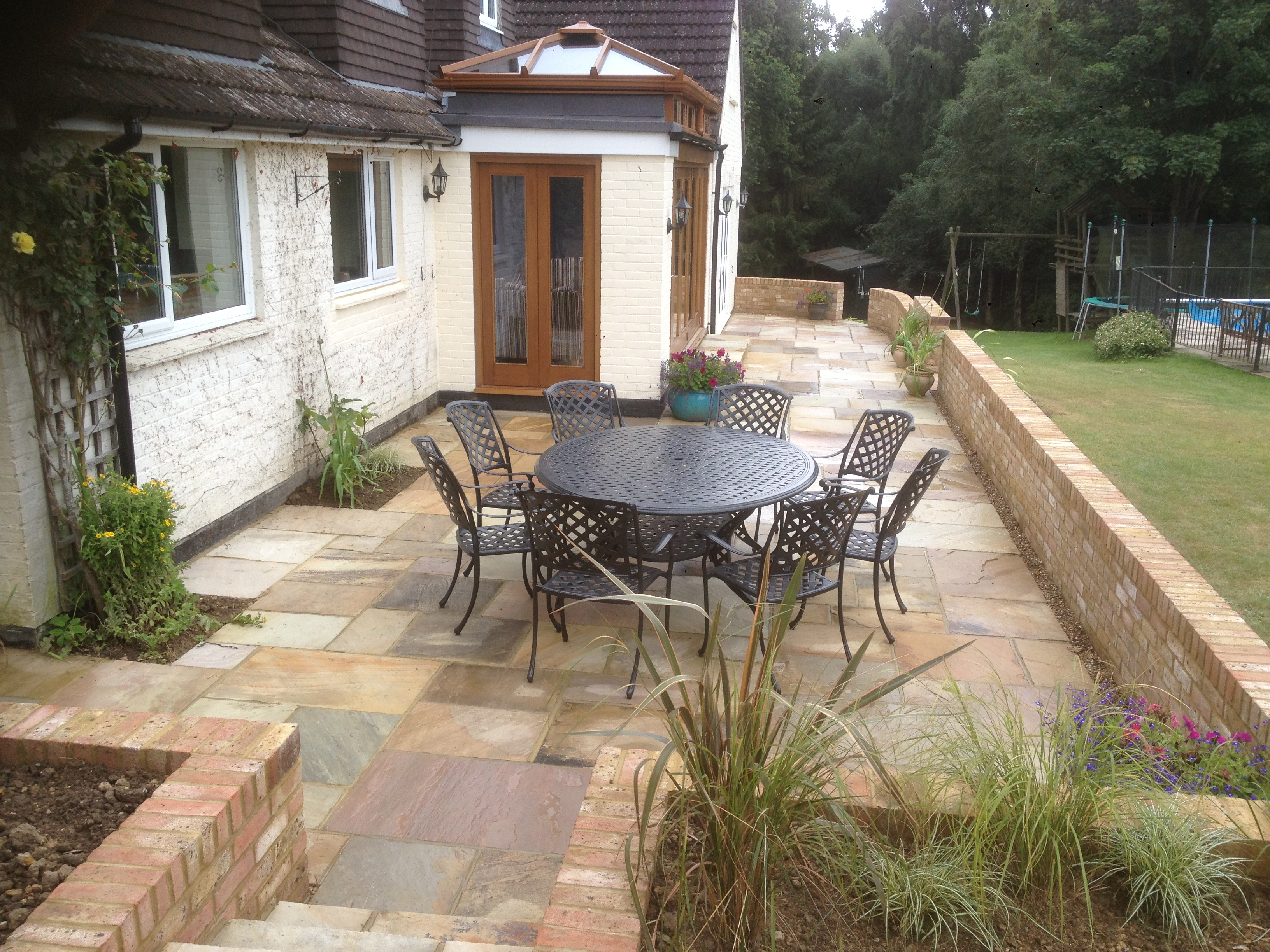 New patio and surrounding wall in horsham area