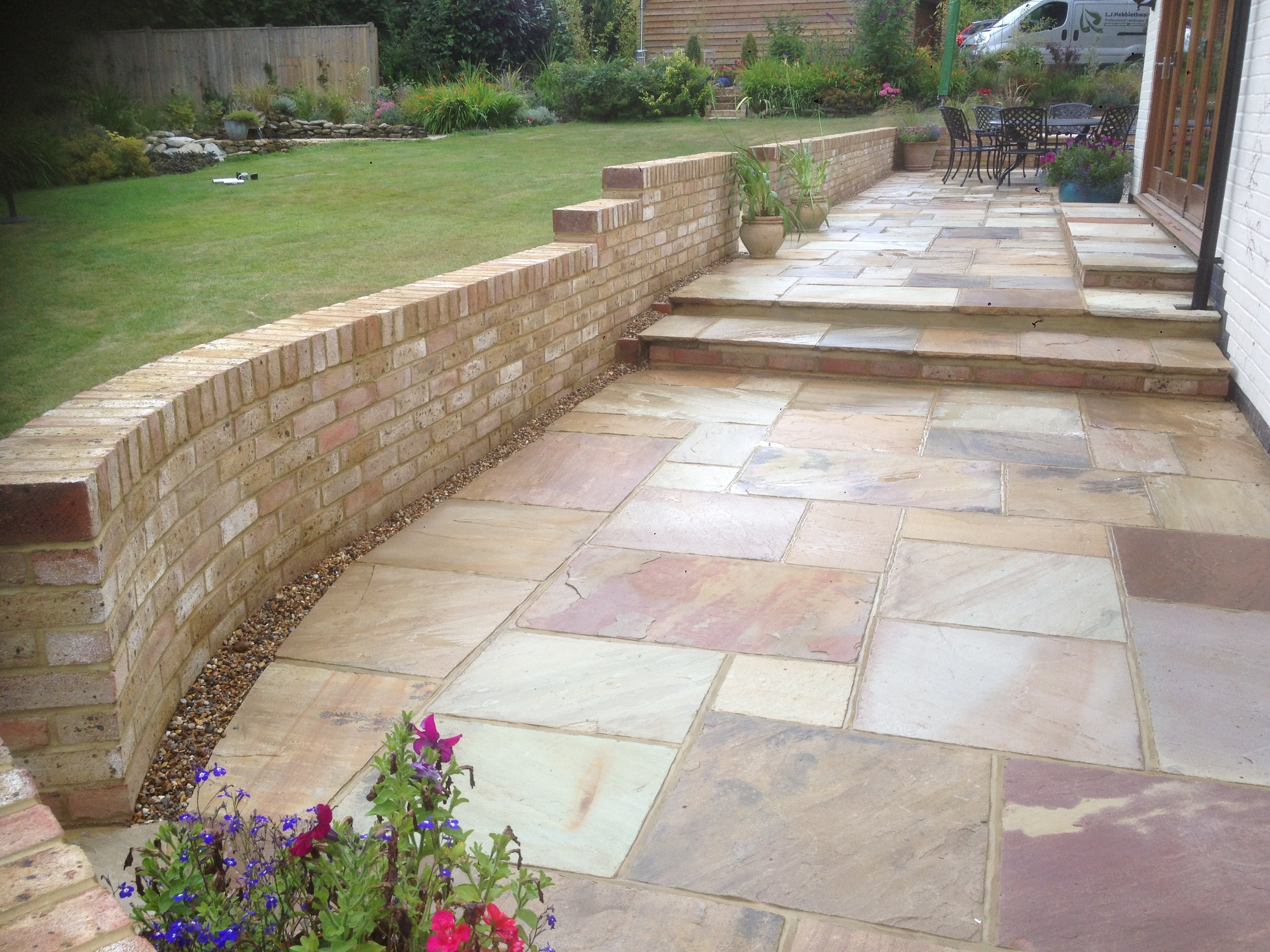 Two tiered Patio with step installed in the horsham area