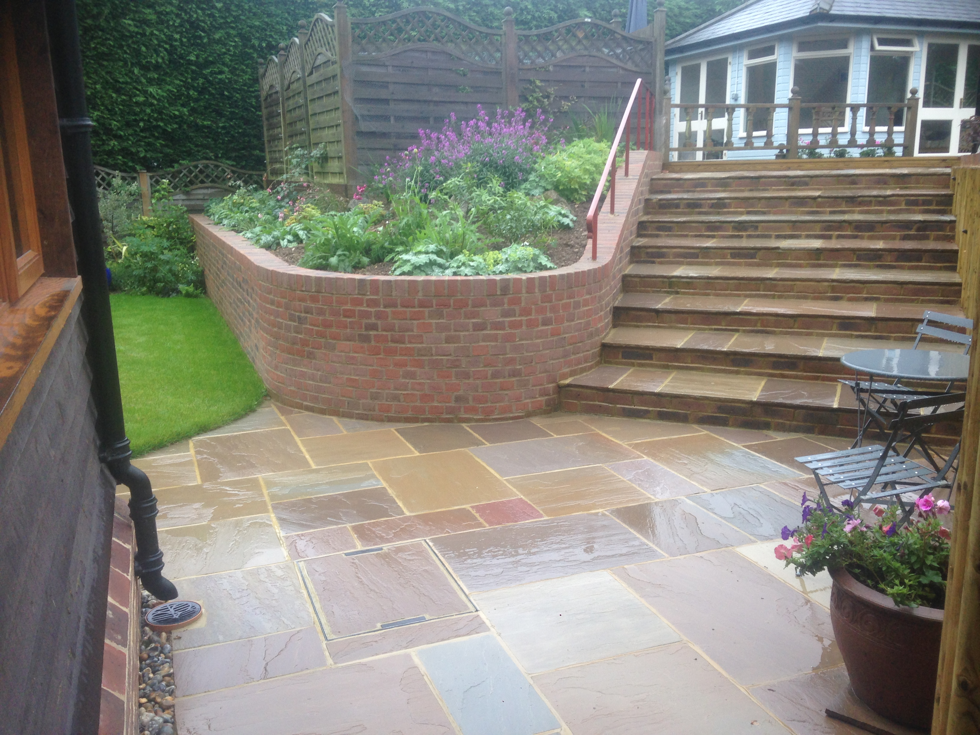 Large wide tiled steps and matching Patio in the billingshurst area
