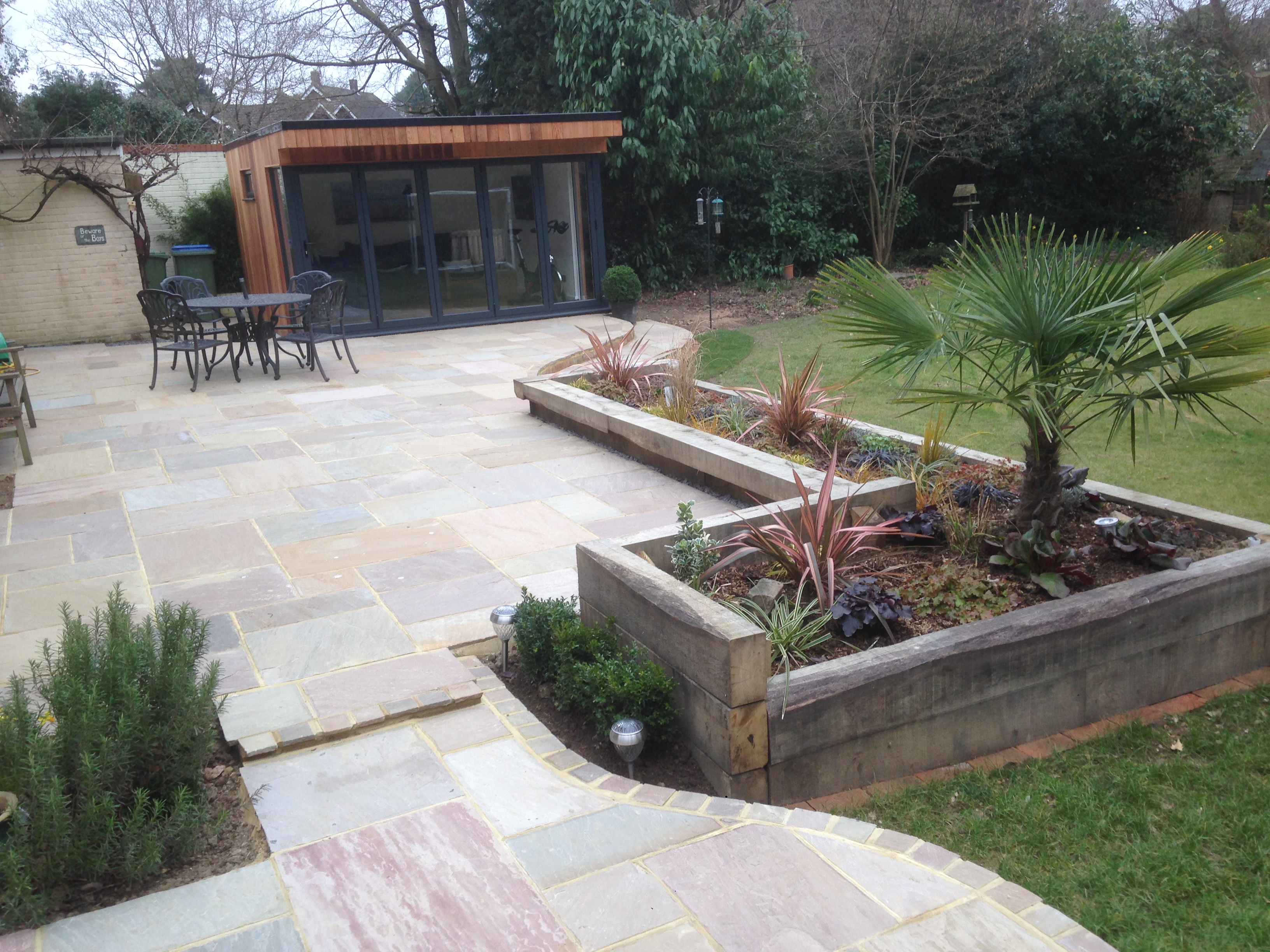 Beautiful patio and flower beds in horsham area