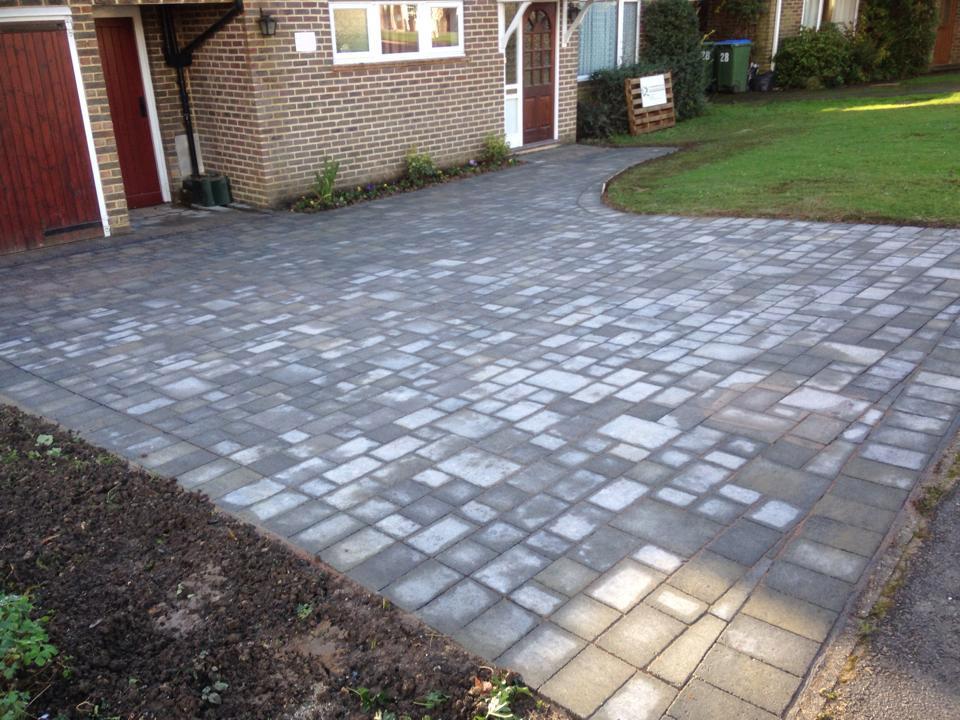 Grey brick driveway
