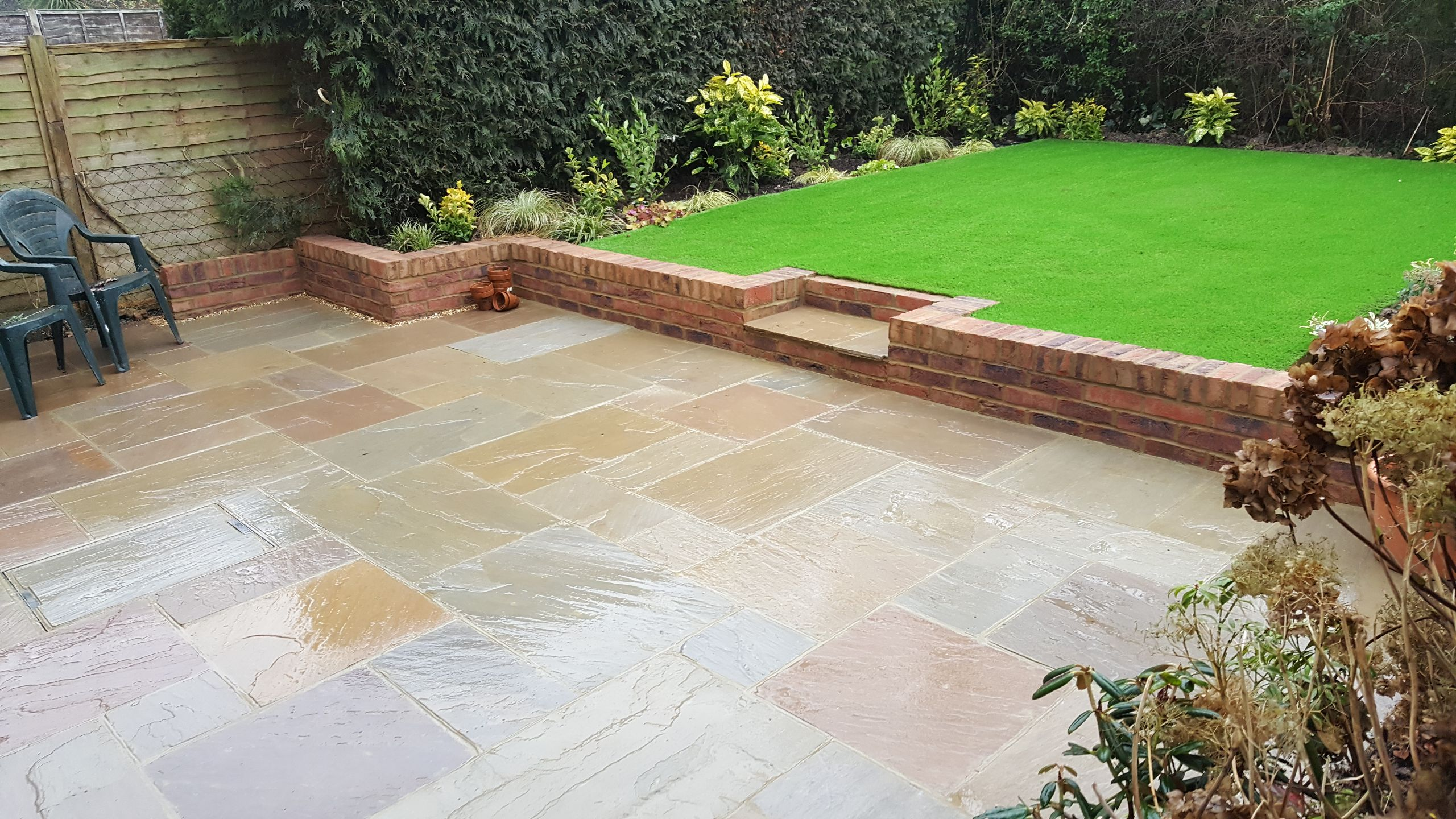 Garden Designed in horsham patio and artificial grass