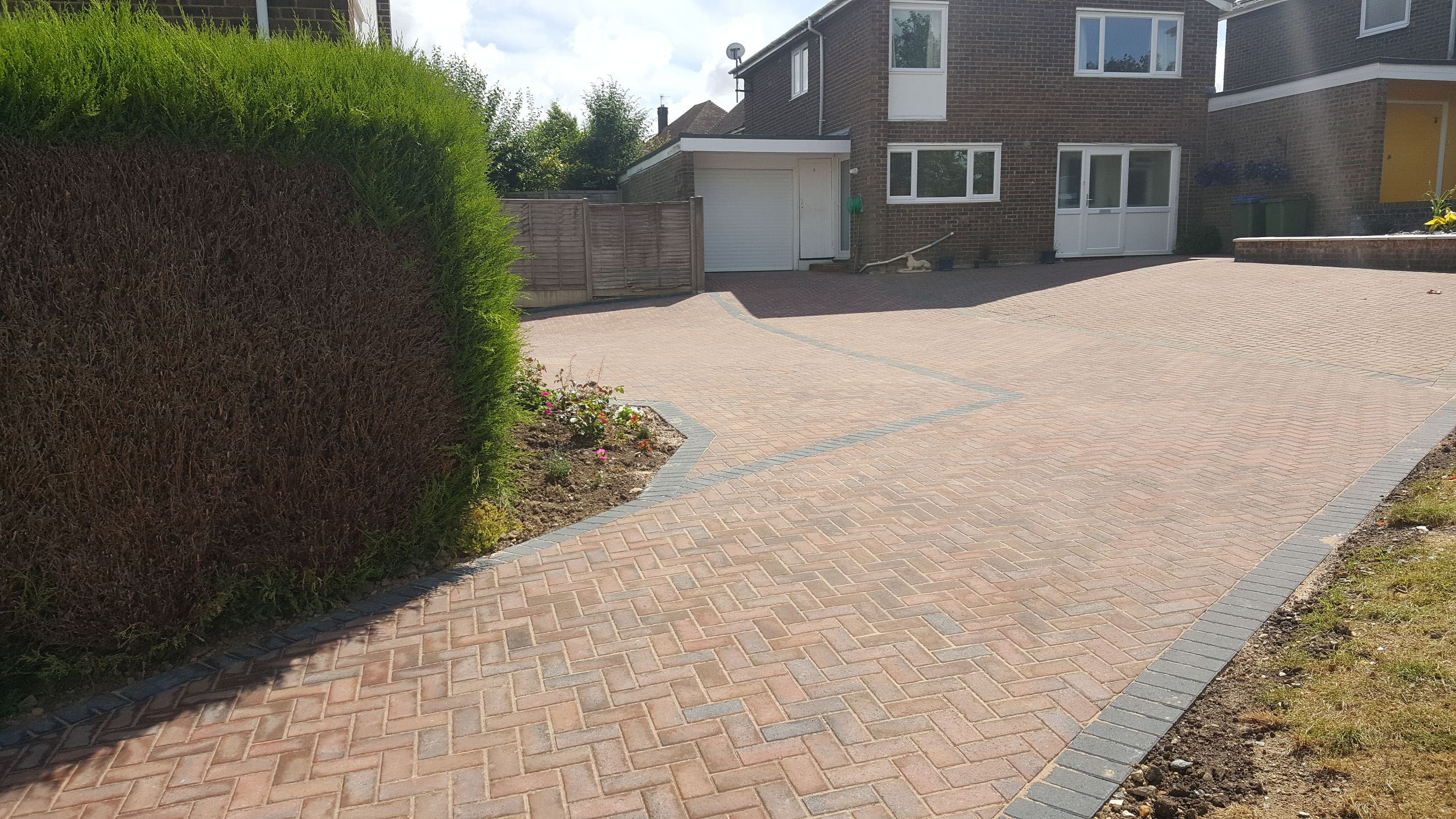 A large brick drive installed in the horsham area