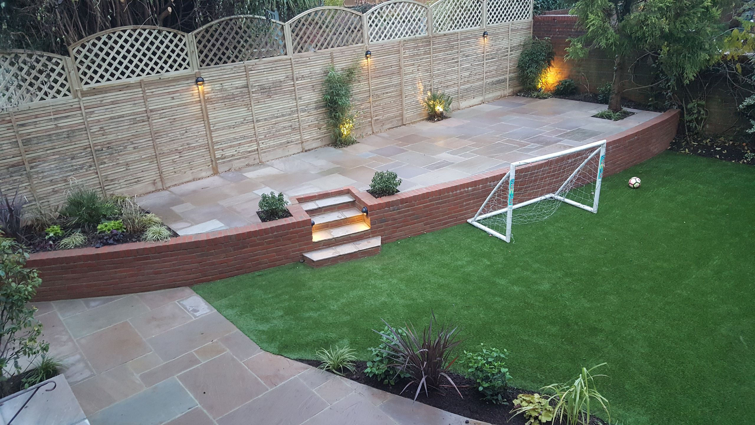 Garden makeover in Horsham. 2 aptio areas and Artificial grass