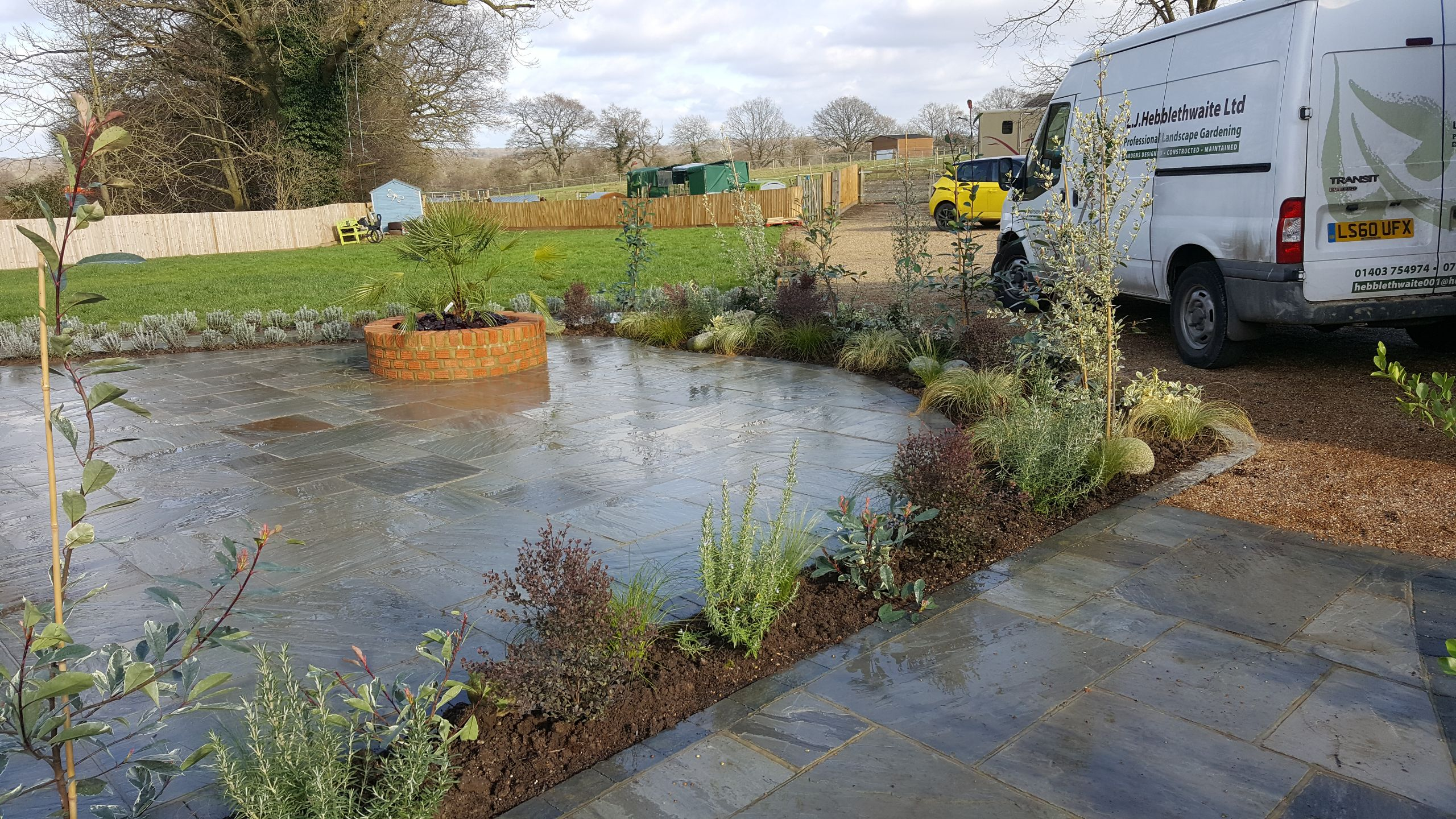 Garden Designed in Horsham with double patio