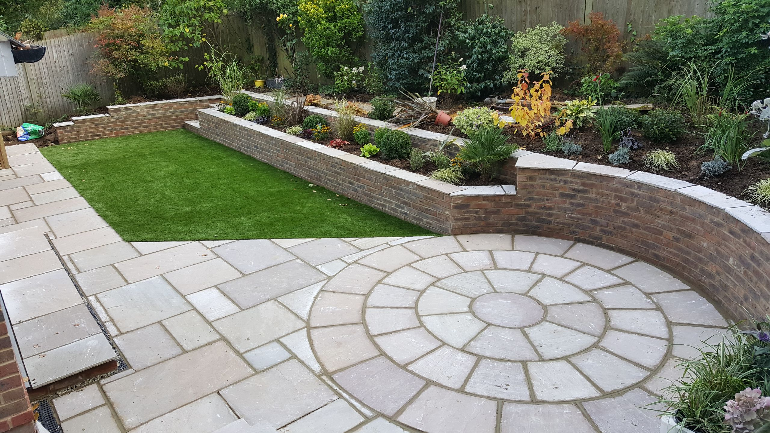 Large sloped garden revitalised and Landscaped in Horsham area