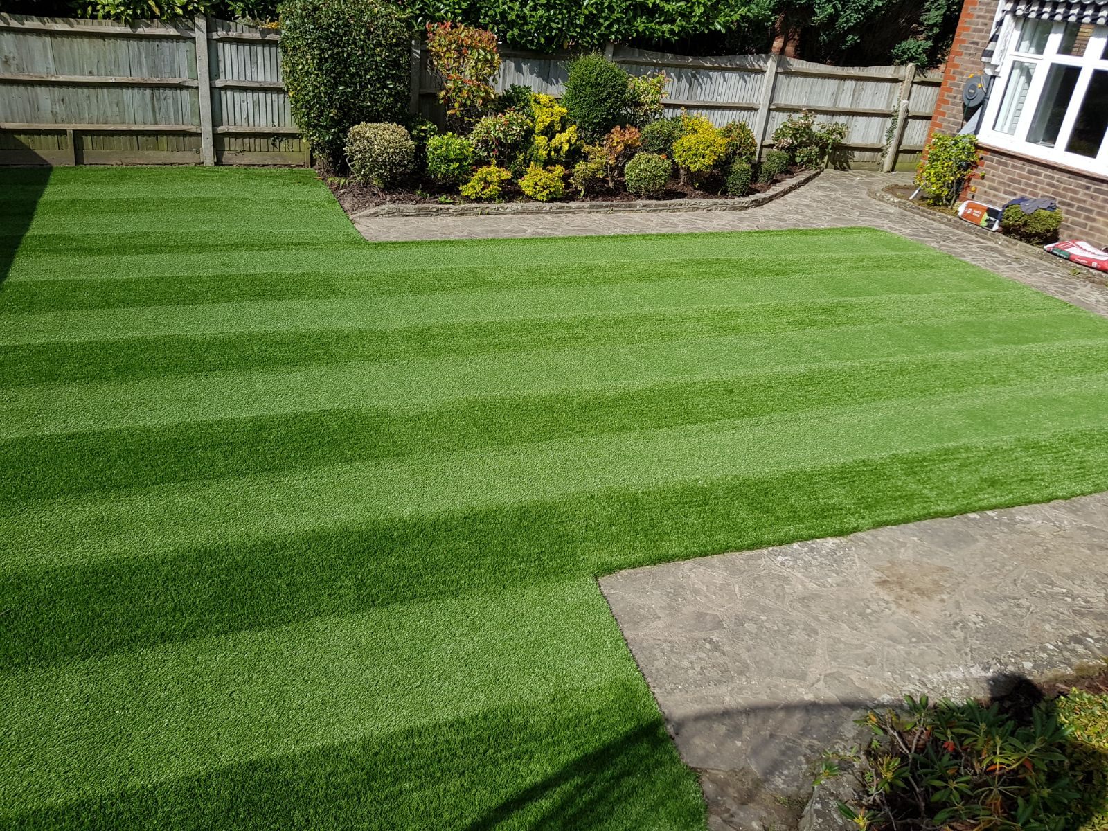 garden with beautiful artificial grass