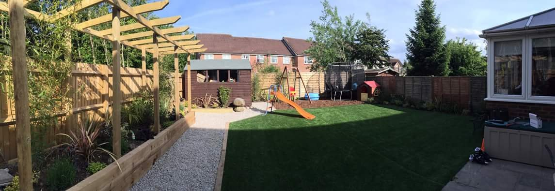 A child friendly garden with play area