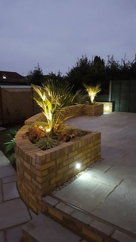 New Patio installed in horsham area at dusk.