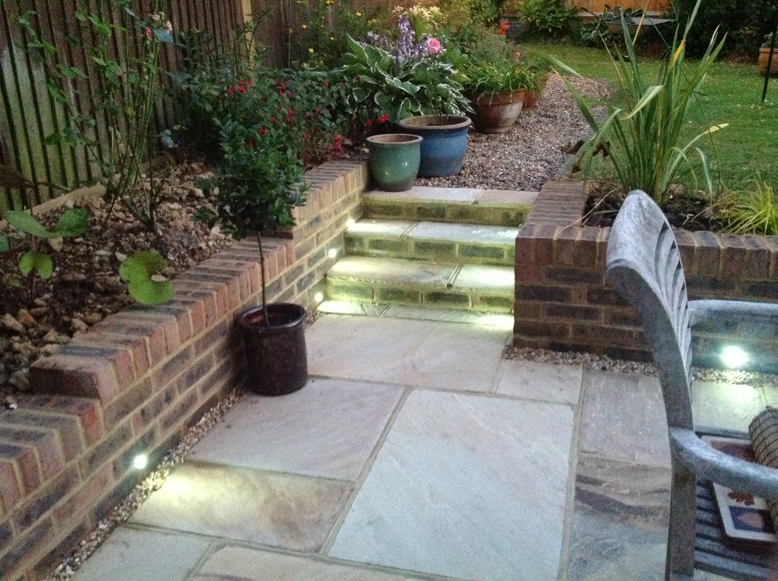 Patio with built in lighting