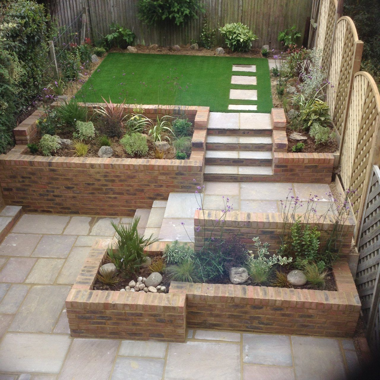 Airial view for newly designed and landscaped garden
