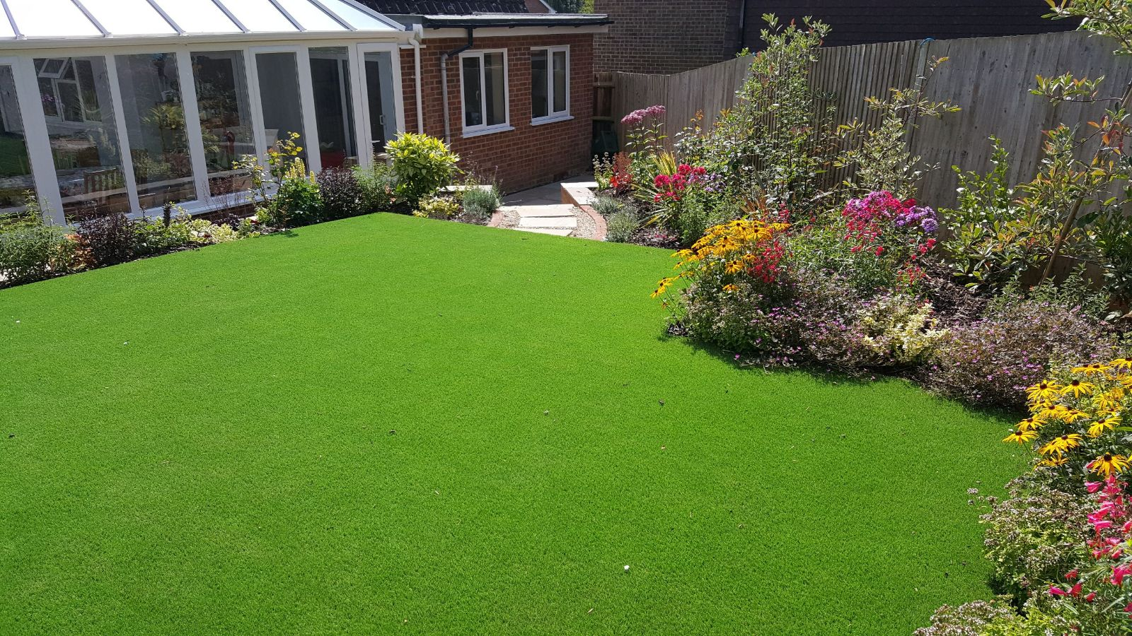Artificial Lawn and new shrubs