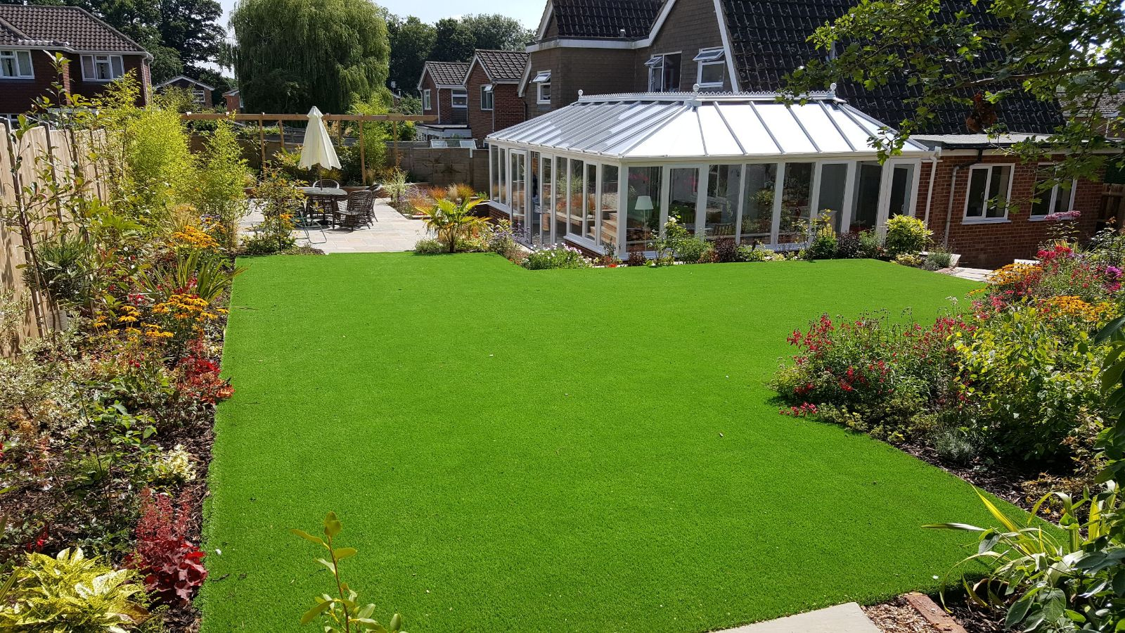 large artificial grass lawn