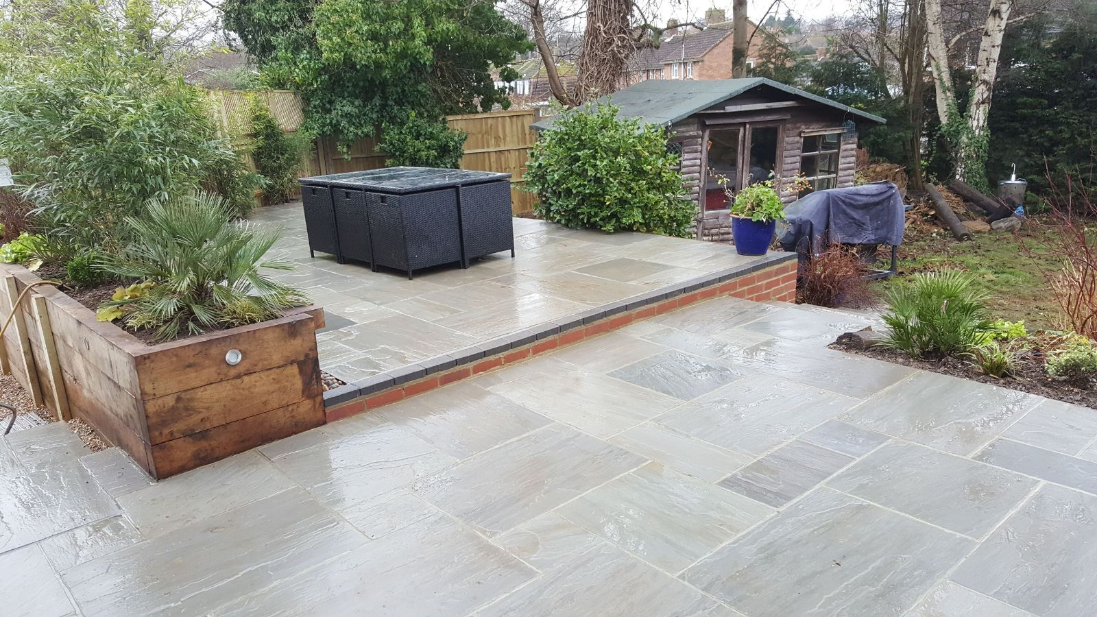 multi tiered garden patio designed in the horsham area