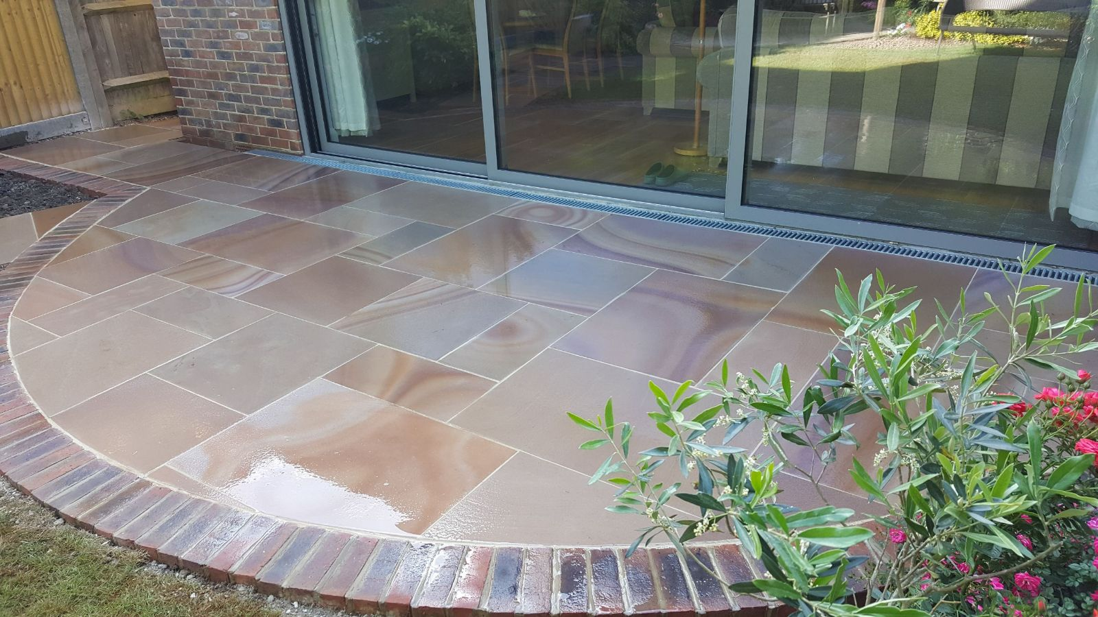 Semi circle patio shimmering