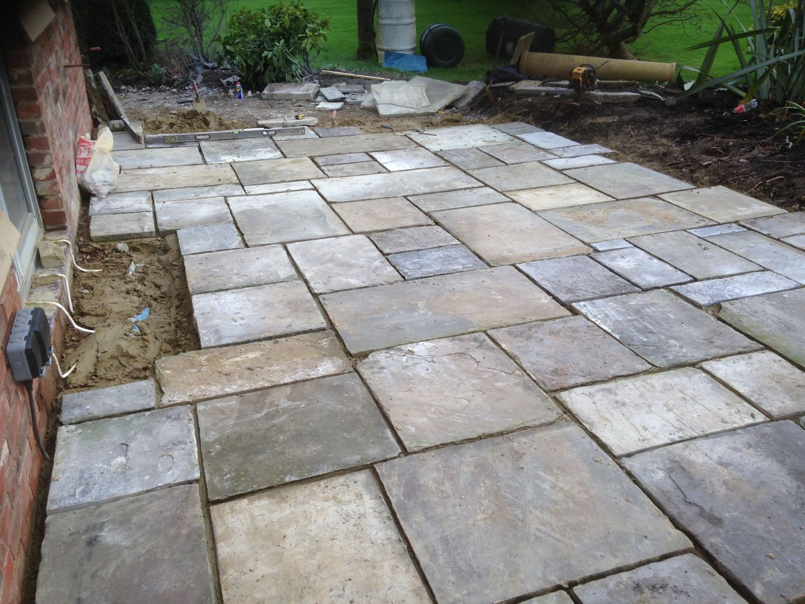 Garden design patio during build with electrics