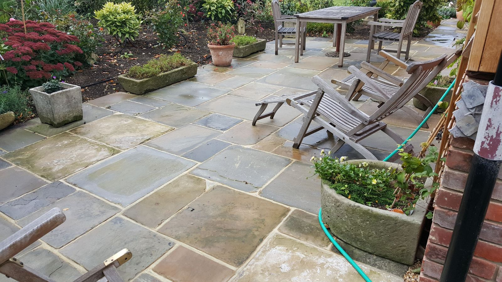 real stone slab patio